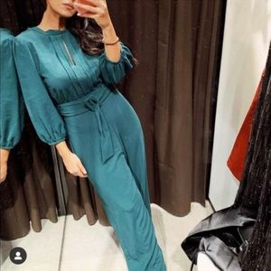 NWT Zara teal green belted jumpsuit